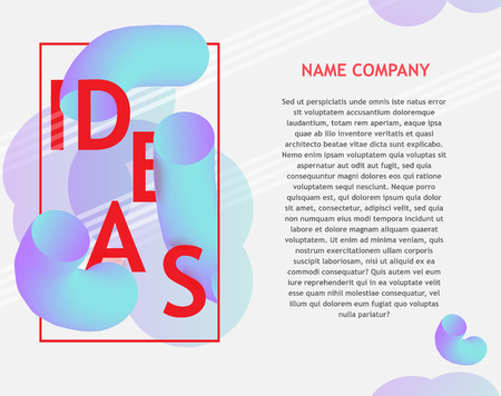 Idea text banner banner with thick curved blue shapes and bright design sign and red texts on white background. For business or education card, flyer or brochure vector illustration.