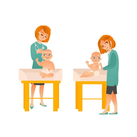 Female pediatrician examines baby on scheduled checkup set isolated on white background. Doctor measures size of child head and listens to his breathing with stethoscope. Cartoon vector illustration.