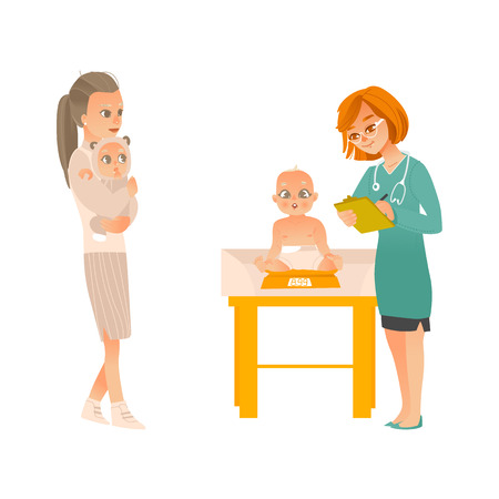 Visit to pediatrician set - mother with baby on hands and female doctor weighing child in office isolated on white background. Cartoon vector illustration of kid healthcare concept.