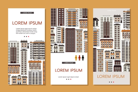 Urban house banners set with various multistorey apartment, office and public buildings isolated on white background - real estate and property vertical posters, vector illustration.