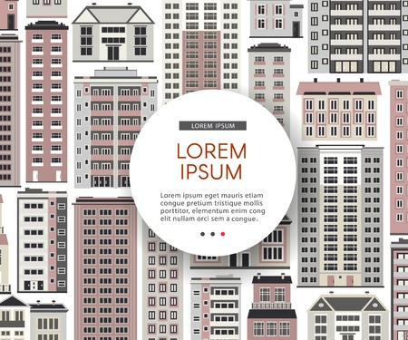 Urban house banner or header with round copy space on background with various multistorey apartment, public and office buildings. Real estate and property concept vector illustration.