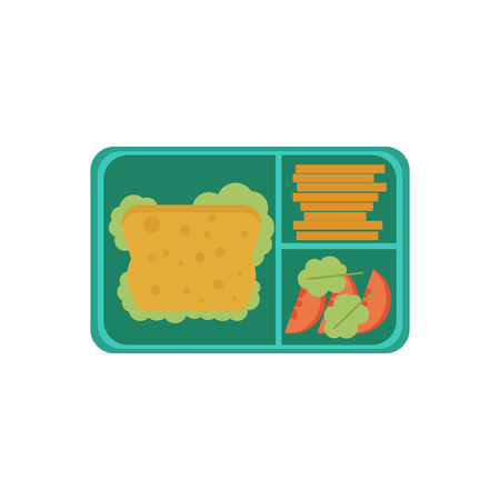 Lunchbox with cheese sandwich, tomato slices, potato chips for school or work. Dinner lunch container with snacks, meals homemade food. Vector isolated illustration