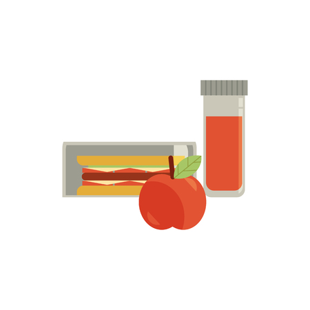 Lunchbox with cheese sandwich, tomato slices, apple fruit and drink in bottle for school or work. Dinner lunch container with snacks, meals homemade food. Vector isolated illustration