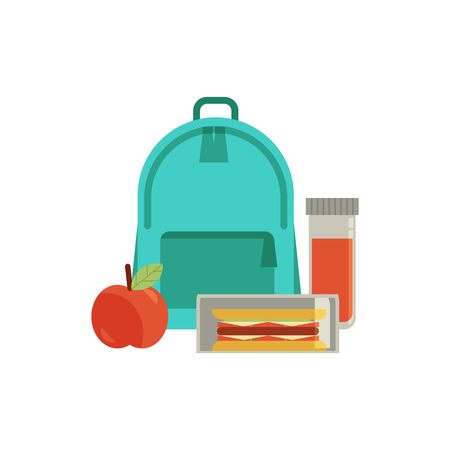 Lunchbox with cheese sandwich, tomato slices, apple fruit drink in bottle, schoolbag for school day. Dinner lunch container with snacks, meals homemade food. Vector isolated illustration