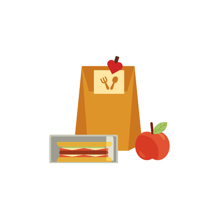 Lunchbox with cheese sandwich, tomato slices, apple fruit and paper bag for school or work. Dinner lunch container with snacks, meals homemade food. Vector isolated illustration