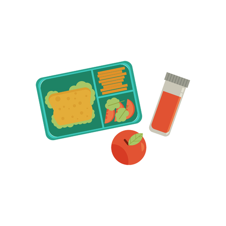 Lunchbox with cheese sandwich, tomato slices, potato chips, ripe apple and closed juice bottle for school or work. Dinner lunch container with snacks, meals homemade food. Vector isolated illustration
