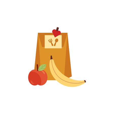 Paper bag lunchbox with food, apple and banana fruit for school or work day. Dinner lunch container with snacks, meals homemade food. Vector isolated illustration
