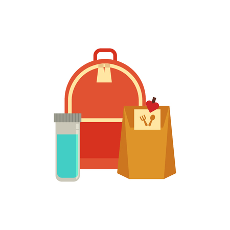 Paper pag lunchbox drink in bottle, schoolbag for school day. Dinner lunch container with snacks, meals homemade food. Vector isolated illustration Illustration