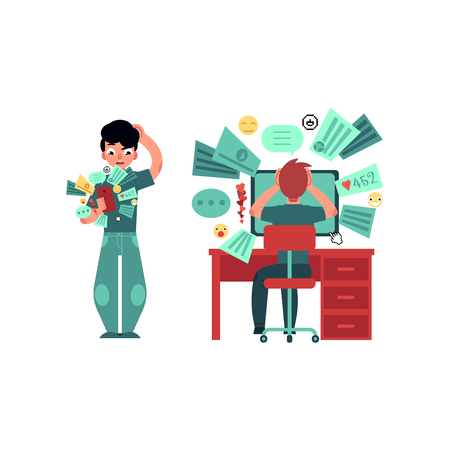 Puzzled young man, teenager iwith smartphone, sitting at desktop monitor with various application icons around gadget. Modern digital technology, people and information overload vector concept Illustration