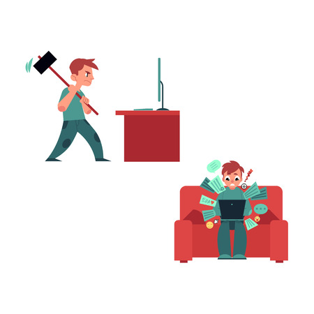 Puzzled young man, teenager in casual clothing sitting at sofa holding laptop computer with various application icon, angry man breaking monitor with hummer. Information overload vector concept. Illustration