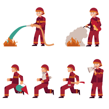 Fireman extinguishing fire set isolated on white background. Flat cartoon character of firefighter in red protection uniform with working equipment, rescue worker vector illustration. Stockfoto - 100367485