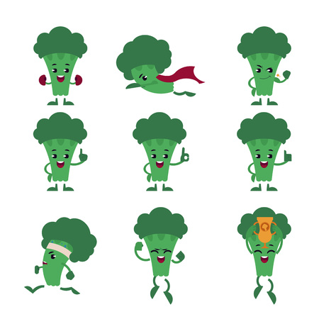 Green fresh broccoli character set isolated on white background. Useful vitamin vegetable does sports, protects health as superhero, wins and achieves success and shows gestures. Vector illustration.