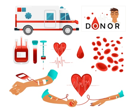 Set of blood donor images with blood donation lifesaving and hospital equipment isolated on white background. Elements for world donor day banner or flyer. Flat vector illustration.  イラスト・ベクター素材