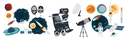 Cartoon space objects set. Planets, galaxy black holes, asteroids, comets and satellites. Vector science fiction elements - radar, telescopes, spaceship, spacesuit, astronaut, alien extraterrestrial