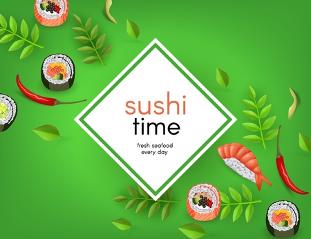 Japanese sushi banner with rolls, ebi nigiri, avocado and chili pepper on green background with white empty geometric space for text - asian traditional restaurant concept design. Vector illustration.