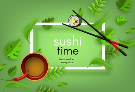 Sushi japanese seafood banner with chopsticks holding fresh roll, bowl with soy sauce and red chili pepper and spice leaves isolated on green gradient background with white frame. Vector illustration. Illustration