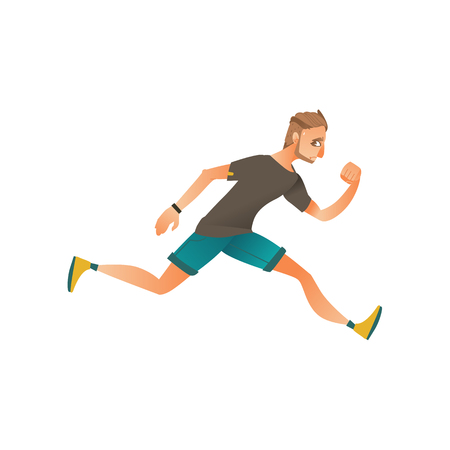 Young man in sportive summer clothing running in panic looking back. Male character runaway with afraid face . Isolated vector illustration in sketch style Standard-Bild - 100367556