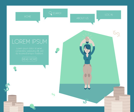 Financing new projects and startups concept on website page template with stacks of coins - vector illustration of flat cartoon young woman holding lightbulb over head as sign that she has idea. 向量圖像