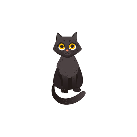 Cartoon cute black cat animal sitting, front view. Funny hand drawn kitten pet. Domestic adorable feline kitty character, design element. Vector illustration isolated.