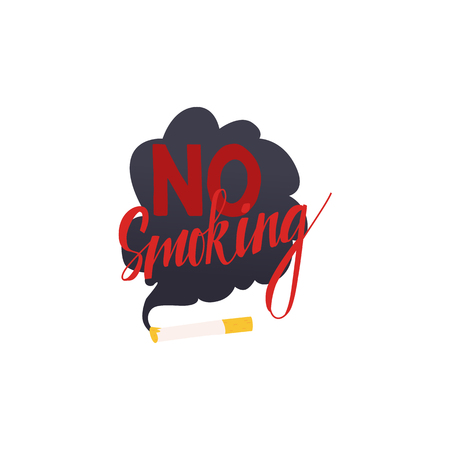 Cartoon no smoking symbol with smoking cigarette and red inscription. Restriction zone sign, prohibition pictogram. Nicotine addiction, health care protection design object. Vector illustration