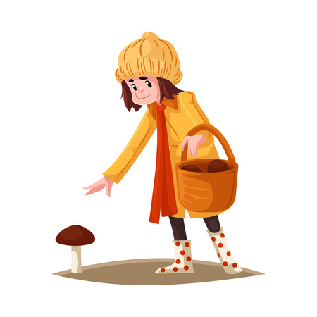 Cartoon girl kid in autumn outdoor clothing collecting mushrooms into wicker basket. Female kid in orange coat, hat. Rubber boots, reaching out hand to pick mushroom vector illustration.