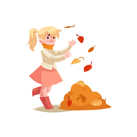 Kid girl plays with autumn leaves throwing them up isolated on white background. Cute cartoon character of joyful child smiling and playing with fall foliage vector illustration. Illustration
