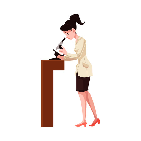 Carton female scientist in uniform standing with microscope. Beautiful young professional character, woman research laboratory, pharmaceutical, chemical industry worker. Vector illustration