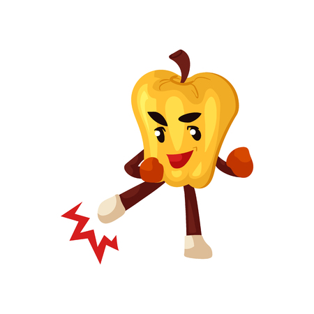 Funny yellow pepper character in boxing gloves doing fight, punch exercises. Vegetable cute healthy organic food full of vitamin. Cartoon smiling hand drawn plant with arms, legs. Vector illustration Illustration