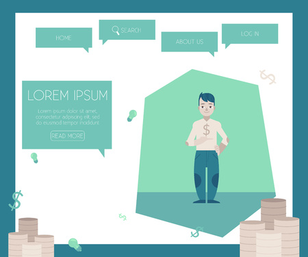 Financing and crediting concept on website page template with piles of coins - flat cartoon happy young guy holding in hand dollar sign in front of chest. Vector illustration. Ilustração
