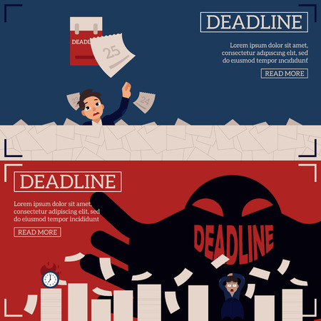 Deadline and time management horizontal banners set with businessman drowning in paperwork and scared of ghost with Deadline sign as smile - flat cartoon vector illustration. Standard-Bild - 100454107