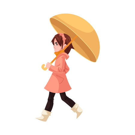 Little kid girl under umbrella in coat and rubber boots walks annoyed with rain isolated on white background. Cartoon character of child in raincoat with bad mood, vector illustration.