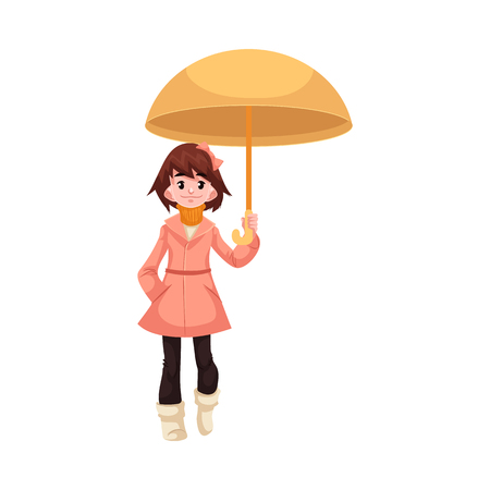 Little kid girl under umbrella walks under rain smiling and happy isolated on white background. Cartoon character of child in raincoat loving rain, vector illustration. Illustration