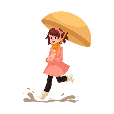 Kid girl under umbrella jumps in puddle in rain smiling and happy isolated on white background. Cartoon character of joyful child in raincoat loving rain, vector illustration.
