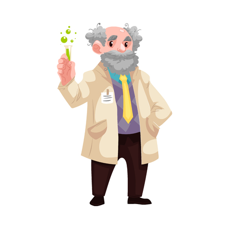 Carton old chemistry scientist standing in uniform holding mixture flask, lab-tube smiling. Smiling grey-haired old professional character, chemical research laboratory worker. Vector illustration Illustration