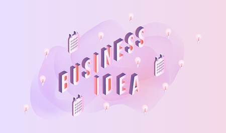 Business idea sign design. Isometric letters and elements on pastel background with gradient fluid color abstract waved shapes for advertise poster or presentation vector illustration.