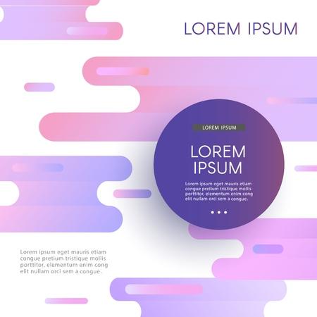 Modello di sfondo alla moda con cornice circolare con testo su colori viola blu viola sfumati glitch vibranti e flusso di forme astratte. Manifesto di vettore moderno, layout di presentazione.