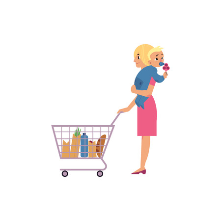 Young woman with baby in hands making purchases in supermarket with grocery basket with wheels. Isolated beautiful cartoon female character with storage hand shopping cart vector illustration.