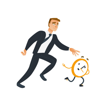 Businessman and time theme with late and falling short of schedule business worker trying to catch and stop wall clock that run away. Isolated cartoon vector illustration.