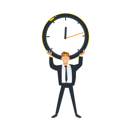 Businessman and time concept young office worker in business suit stands and holds big wall clock overhead. Isolated cartoon vector illustration of deadline and time management theme.