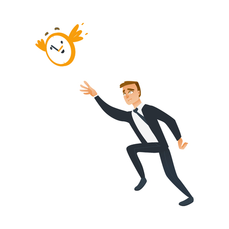 Businessman and time theme with late and falling short of schedule business worker trying to catch and stop wall clock that fly away. Isolated cartoon vector illustration.