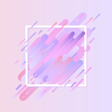 Glitched geometric colorful banner with distortion effect in trendy ultra violet color with square frame. Modern effect of digital decay with abstract shapes. Vector illustration.