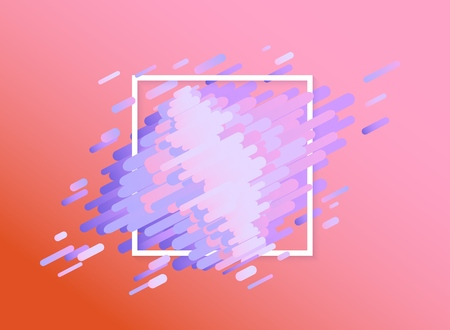 Glitched background with abstract colorful shapes and stripes and white square frame - modern design abstract element with effect of computer screen error and bug, vector illustration.