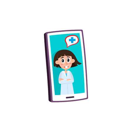 Remote medical assistance concept with female doctor advising patient on video on smartphone isolated on white background - flat cartoon vector illustration of medical mobile app. Banque d'images - 100749695