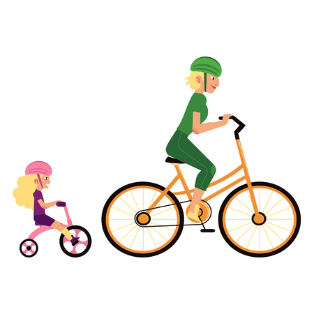 Sport family concept with mother and daughter in sports protection riding cycles. Woman sets example of healthy and active lifestyle for her kid girl. Isolated cartoon vector illustration.