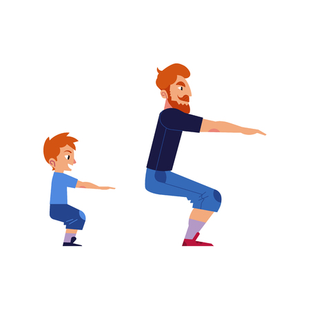 Sport family concept with father and son doing exercises and squat isolated on white background. Man sets example of healthy and active lifestyle for his kid boy. Cartoon vector illustration.
