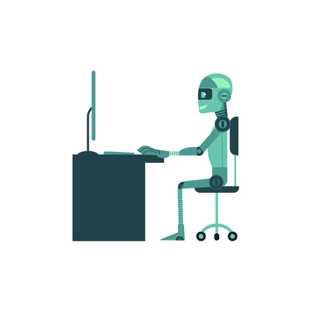 Artificial intelligence concept with anthropoid robot works behind computer isolated on white background. Illustration