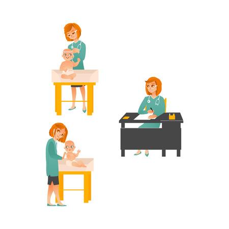 Female pediatrician examining baby set isolated on white background.
