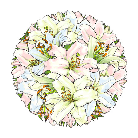 Round decoration element made of light pink and blue lily flowers, sketch style, hand drawn vector illustration isolated on white background. Hand-drawn lily flowers forming a round decoration element Illustration