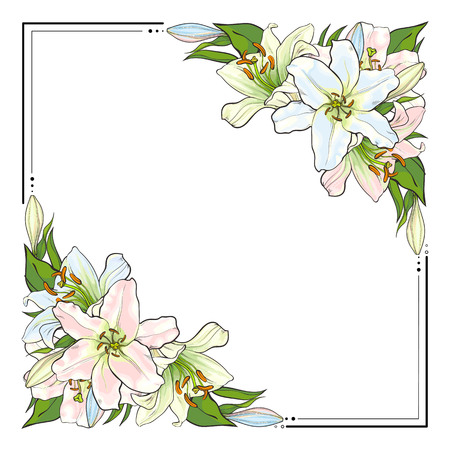 Square frame decorated with triangular bunches of light lily flowers, sketch style, hand drawn vector illustration isolated on white background. Square frame decorated with hand-drawn lily flowers