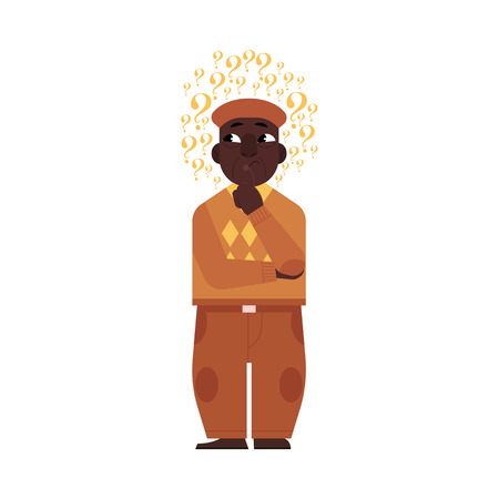 Cartoon adult african black man standing in thoughtful pose holding his chin thinking with questions above head portrait . Isolated vector illustration on a white background